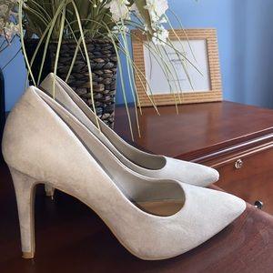 Grey suede high heels